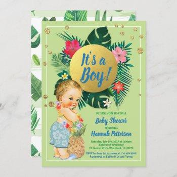 Tropical Baby Boy Couples Shower Green Gold Invitation