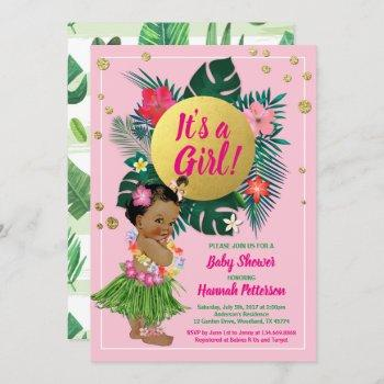 Tropical Baby Girl Couples Shower Pink Gold Invitation