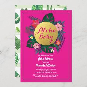 Tropical Baby Girl Shower Invitation Hot Pink