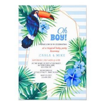 Tropical Baby Shower Blue Invitation