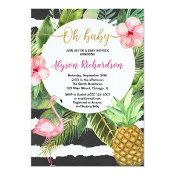 Tropical Baby Shower Girl, Flamingo Pineapple Invitation