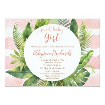 Tropical Baby Shower Girl, Greenery Palms Invitation
