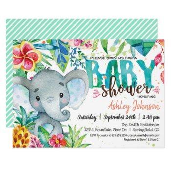 Tropical Baby Shower Invitation, Elephant Invitation