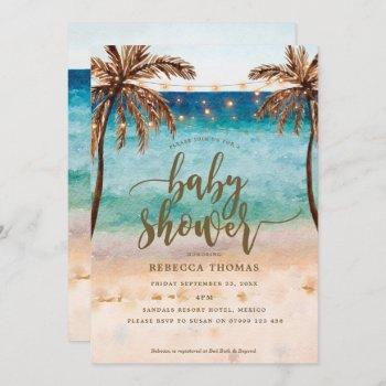 Tropical Beach Modern Baby Shower Invitation