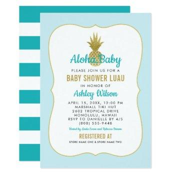 Tropical Blue Baby Shower Luau | Gold Pineapple Invitation