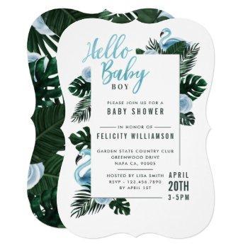 Tropical Blue Flamingo Rose Baby Shower Invitation
