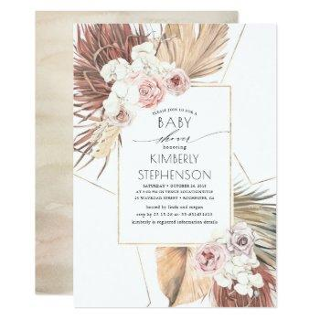 Tropical Earthy Jungle Foliage Boho Baby Shower Invitation