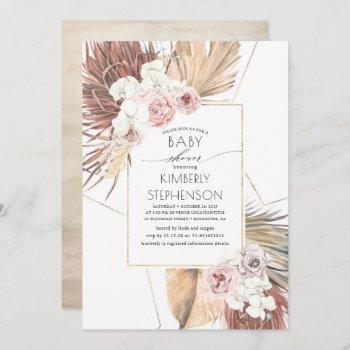 Tropical Earthy Jungle Foliage Boho Baby Shower Invitation