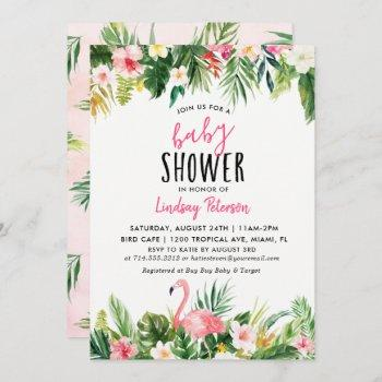 Tropical Flamingo Baby Shower Invitation Card