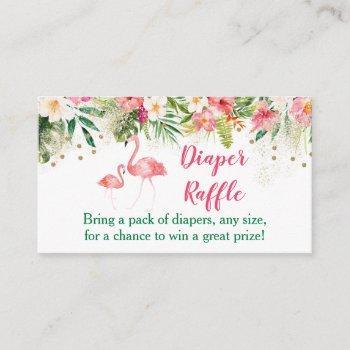 Tropical Flamingo Diaper Raffle Tickets Enclosure Card