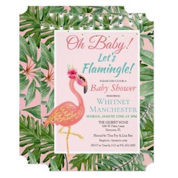 Tropical Flamingo Flamingle Baby Shower Invitation