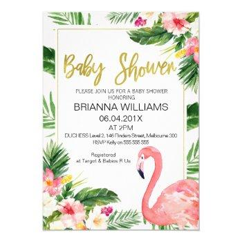 Tropical Floral Flamingo Baby Shower Invitation