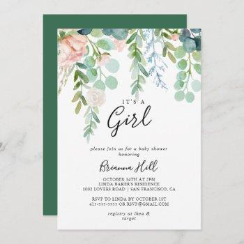 Tropical Floral It's A Girl Baby Shower Invitation
