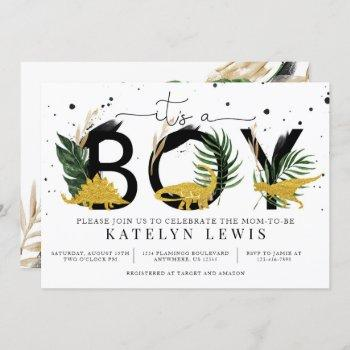 Tropical Gold Dinosaurs Baby Shower Invitation