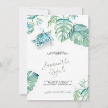 Tropical Green Leaves Sea Turtle Baby Shower