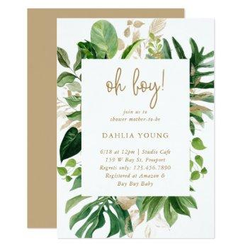 Tropical Greenery Gold Geometric Boy Baby Shower Invitation