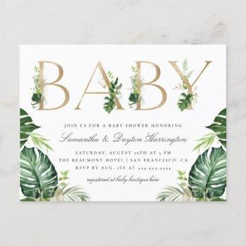 Tropical Greenery Gold Typography Baby Shower Invitation Postcard