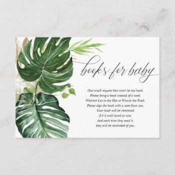 Tropical Greenery Monstera Leaves Books For Baby Enclosure Card