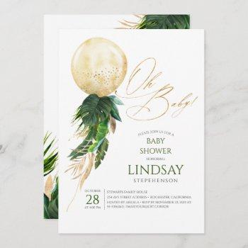 Tropical Greenery Palm Leaves Gold Balloon Oh Baby Invitation