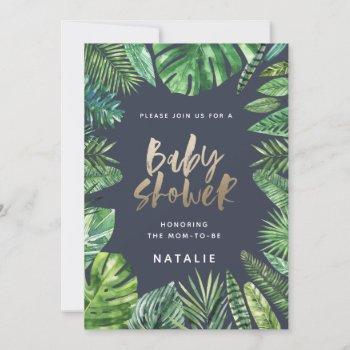 Tropical Palm Leaf & Gold Script Baby Shower Card
