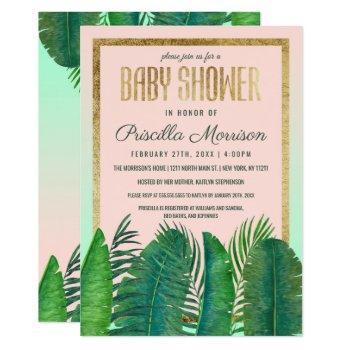 Tropical Palm Tree Banana Leaf Gold Baby Shower Invitation
