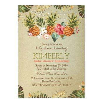 Tropical Pineapple Beach Lights Baby Shower Invitation