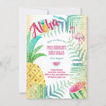 Tropical Pineapple Flamingo Pink Gold Aloha Invitation