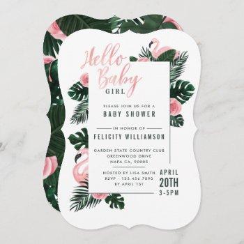 Tropical Pink Flamingo Rose Baby Shower Invitation