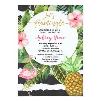 Tropical Sip And See, Meet Baby Girl Flamingo Invitation