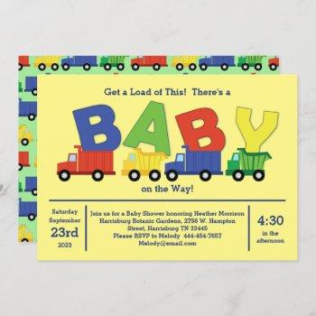 Trucks Baby Shower Dump Truck Boy Invitation