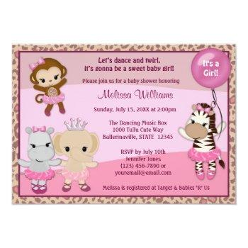 Tu Tu Cute Baby Shower Invitation Monkey Girl Ttc
