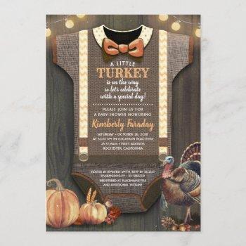 Turkey Baby Shower Fall Pumpkin Rustic Burlap Wood