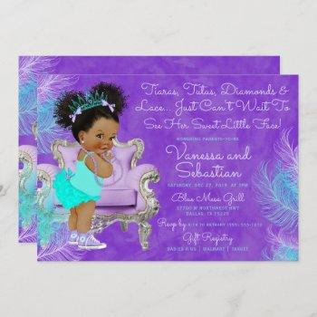Turquoise Purple Afro Puff Baby Shower Watercolor Invitation