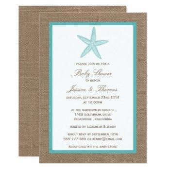 Turquoise Starfish Burlap Beach Baby Shower Invitation