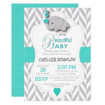 Turquoise, White Gray Elephant Baby Shower Invitation
