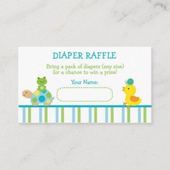 Turtle & Frog Diaper Raffle Tickets Enclosure Card