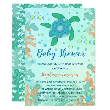 Turtle Under The Sea Baby Shower Invitations
