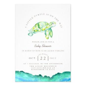 Turtle Watercolor | Ocean Life Baby Shower Invitation