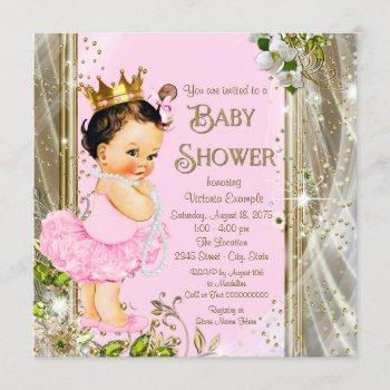 Tutu Baby Shower Pink Gold Invitation