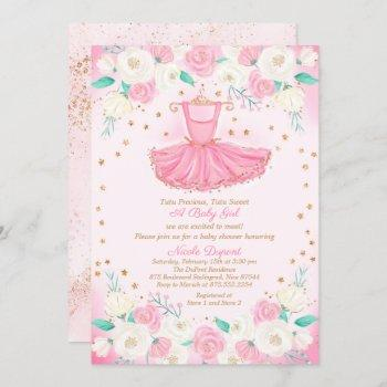 Tutu Ballerina Dress Glitter Baby Shower Invitation