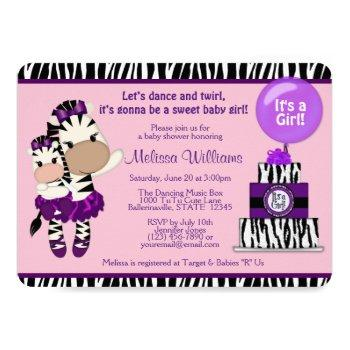 Tutu Cute Baby Shower Zebra Lavendar Purple 085 Invitation