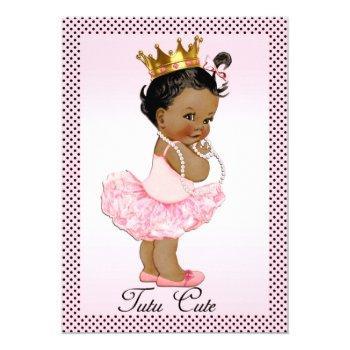 Tutu Cute Ethnic Princess Pearls Polka Dots Invitation