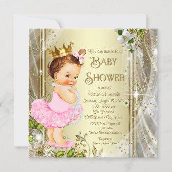 Tutu Princess Pink Gold Baby Shower Invitation