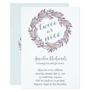 Twice As Nice | Twins Boho Wreath Baby Shower Invitation