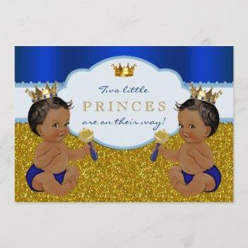 Twin African American Prince Baby Shower Invitation