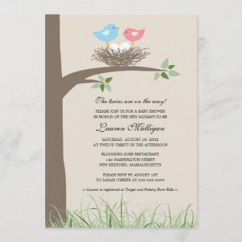Twin Baby Bird's Nest Baby Shower Invitation
