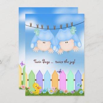 Twin Baby Boy Shower Invitation