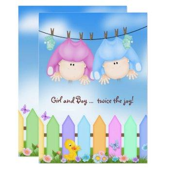 Twin Baby Shower-babies On Clothesline Invitation