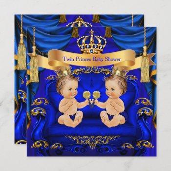 Twin Baby Shower Boy Prince Blue Gold Invitation