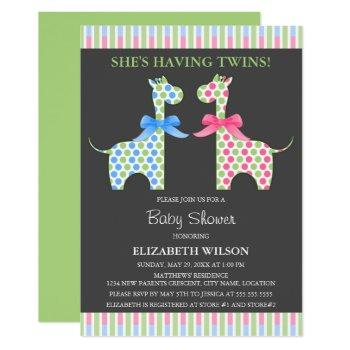 Twin Boy And Girl Giraffe Baby Shower Invitation